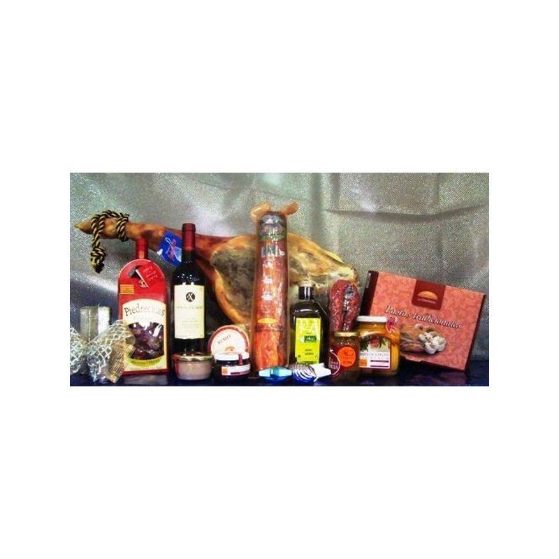 jamón, vino, embutidos, patés, aceite, miel queso melocotón en almibar y dulces varios