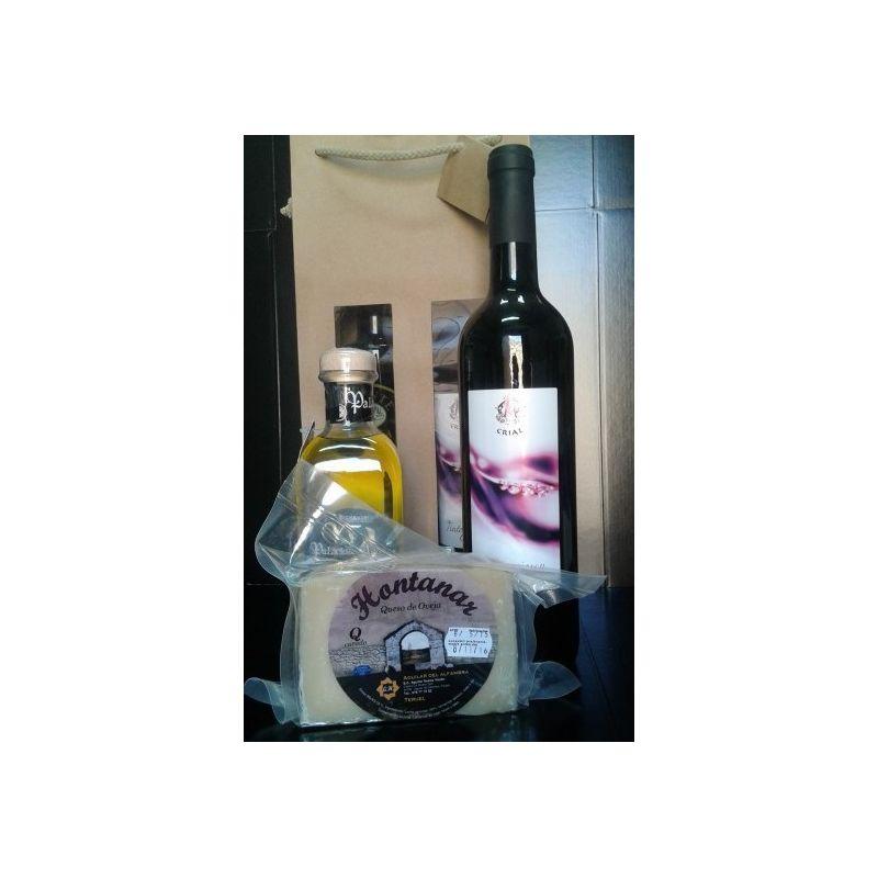 Aceite de oliva, queso y vino