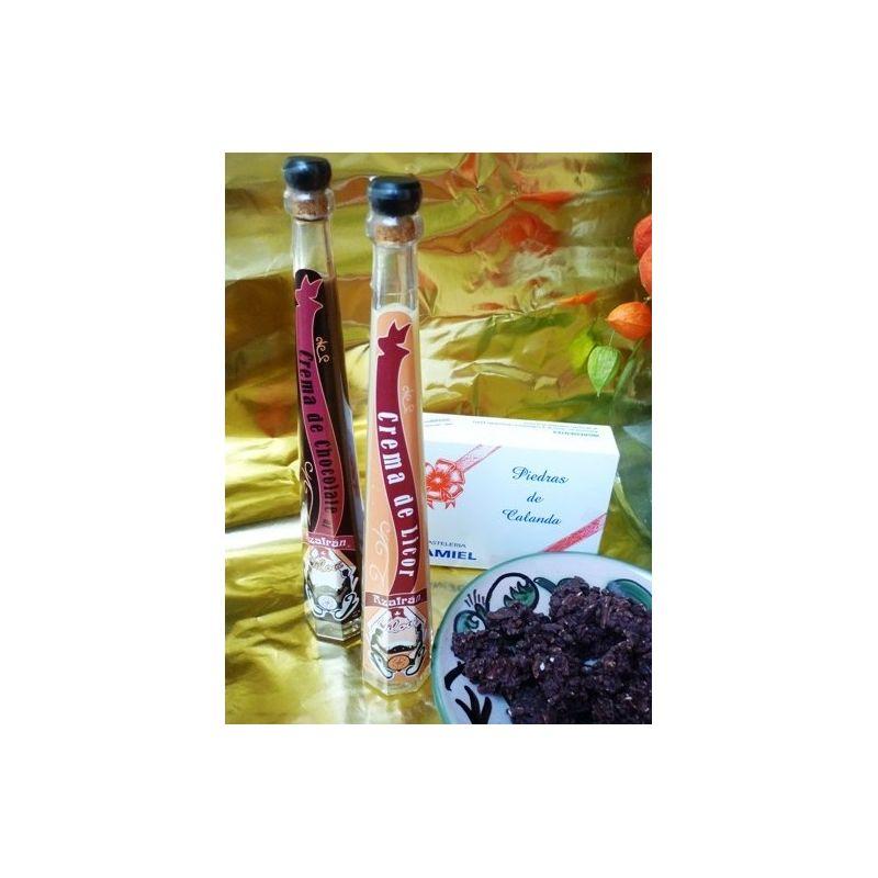 crema de licor al azafran y crema de licor de chocolate al azafrán y piedras de Calanda