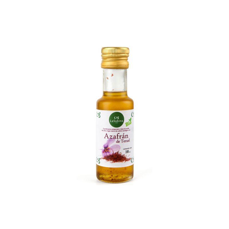 botella 100 ml. aceite de oliva con azafrán ecológico